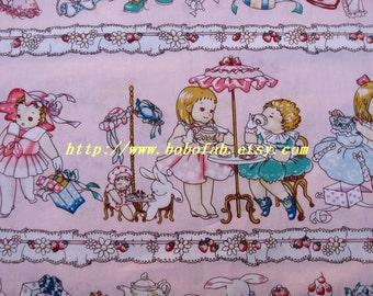 2004B - 1 meter cotton fabric  - Girls/shoes/bag - light pink