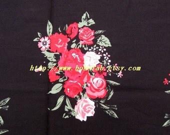 2010  - 1 meter Cotton fabric  - Peony on black