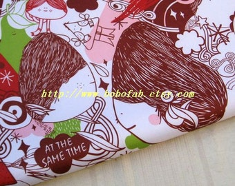 "3142B  - 1 yard Vinyl Waterproof Fabric  - Cartoon  - Girl  (Reddish brown)- 57""x36"""