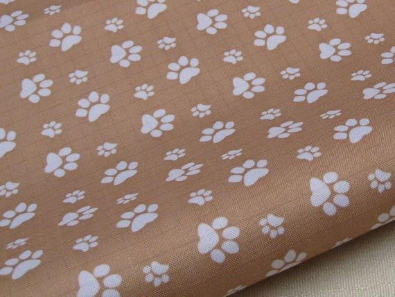 "3059C - 1 yard Vinyl Waterproof Fabric - Footprint - Light brown - 57""x36"""