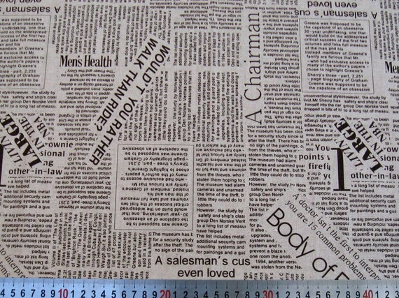 6309B - Cotton Linen Blend Fabric - Newspaper (Brown) - by the yard