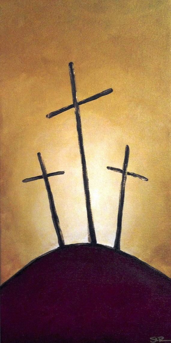 Items similar to three crosses acrylic painting on etsy for Cross paintings on canvas