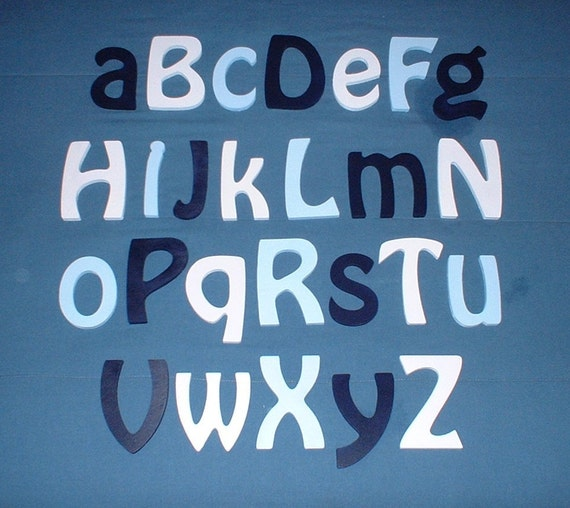 """Alphabet Letter Set 6"""" size complete set of Painted wooden wall letters (12.00 shipping) Nursery Child Room Decor"""