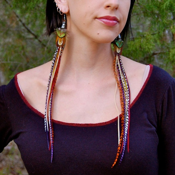 ELVEN SONG Long Feather Earrings