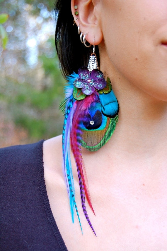 SKYE BLOSSOM Peacock Feather Earrings SALE