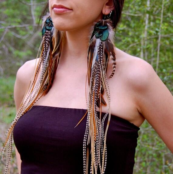 WOODLAND GODDESS Long Feather Earrings