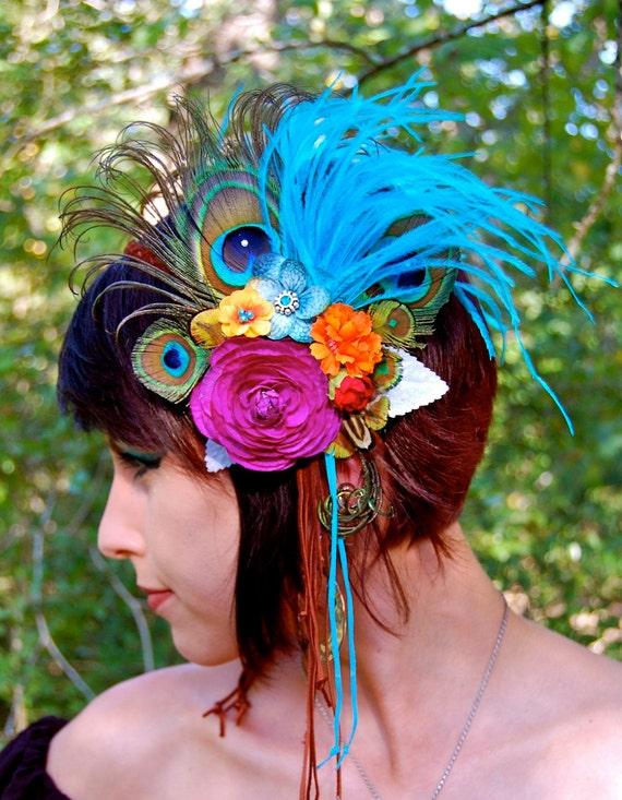 SUMMER RAINBOW Feather Headdress RESESRVED