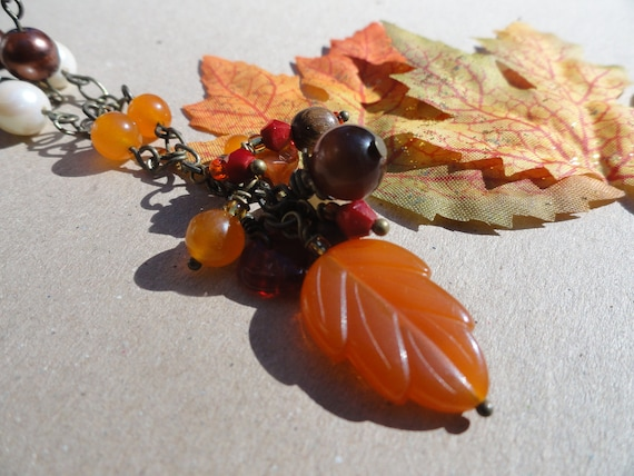 Autumn Leaf Cluster Necklace