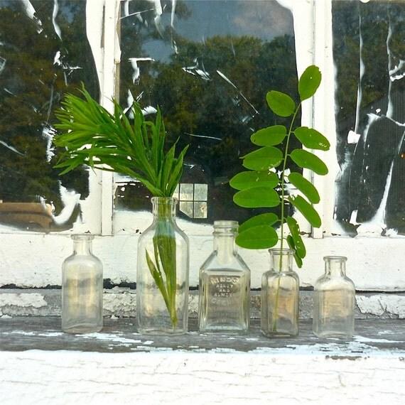 set of 5 small vintage glass bottles