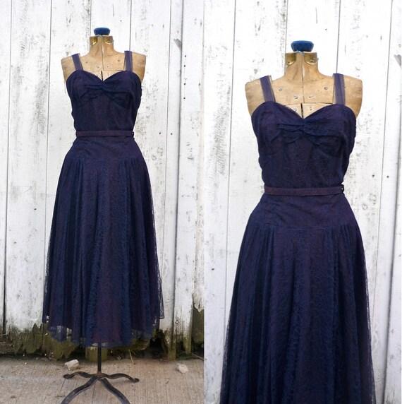 1940s dress / 50s lace dress / Midnight Waltz dress