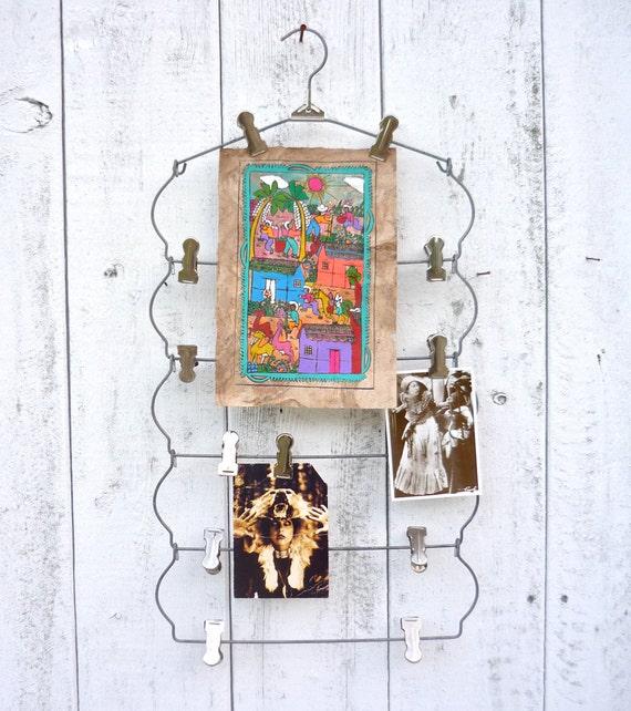vintage skirt hanger / industrial photo display / mood board