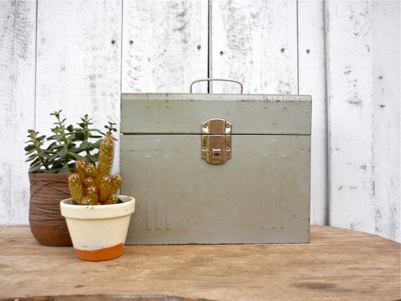 vintage file box / midcentury lock box / industrial storage