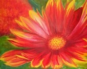 Red Flower Original Oil Painting, 8X10