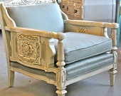 """SALE Vintage """"Queen's Throne"""" Upholstered Chair with Amazing Wood Carved Details"""