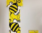Nursery Painted Letters Yellow and Black Bumble Bee Baby Girl or Boy Polka Dot Ribbon
