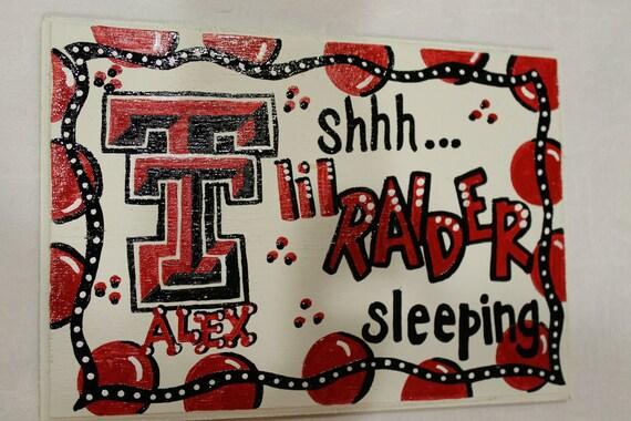 Texas Tech Raiders Baby Sleeping Sign, baby shower gift Hand painted