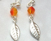 Autumn Leaf Dangle Earrings -- sterling silver leaf charms with red orange fire opal Swarovksi crystals (free shipping)