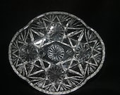 Vintage Cut Glass Bowl Candy Dish Clear Glass
