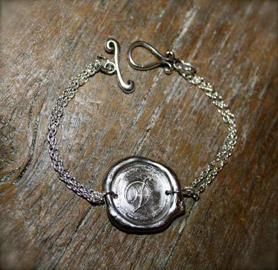 Handmade Wax Seal Personalized Initial Bracelet in SILVER Color, by Okrrah