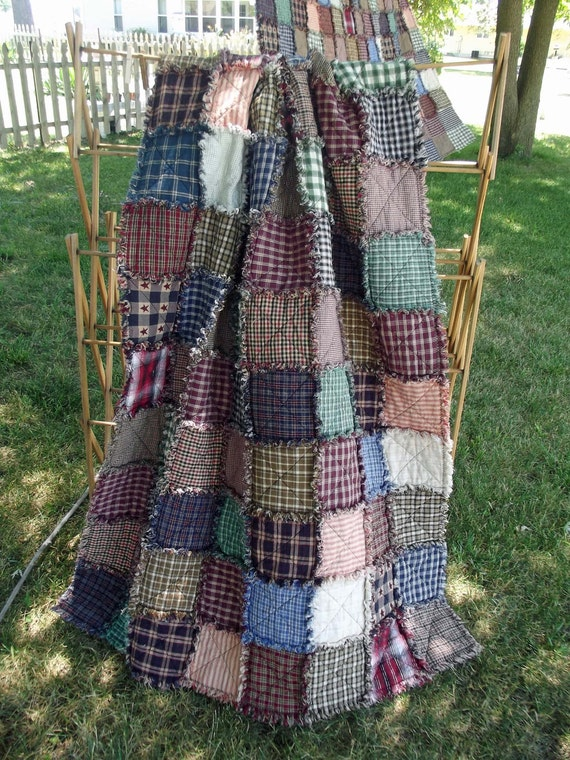 Rustic Rag Quilt Throw - Free Shipping