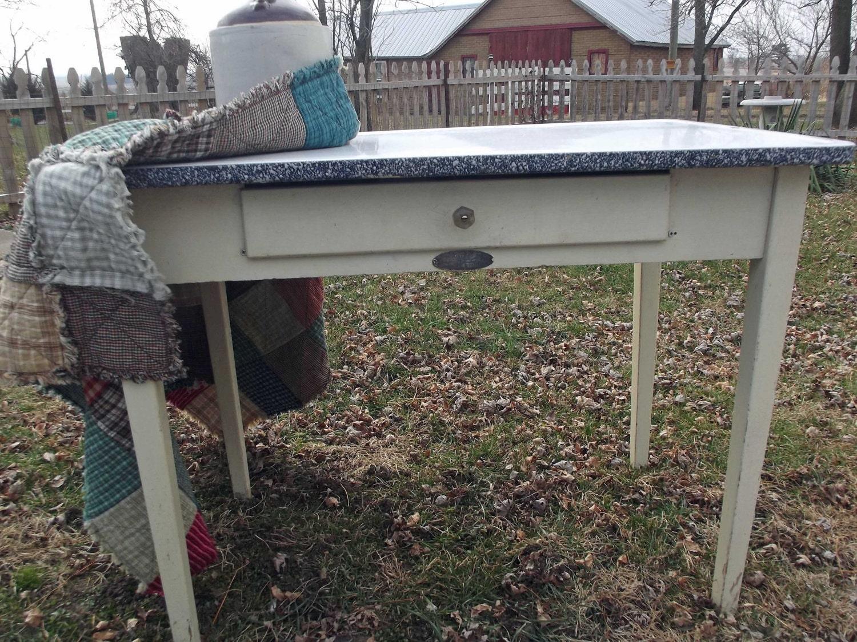 Vintage Enamel Top Hoosier Table Free By Thelaughingblackbird