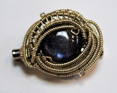 Wire Wrapped Hat Pin Labradorite and Sterling Silver FREE SHIPPING