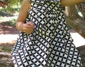 Black and white Geometric dress with peter pan collar