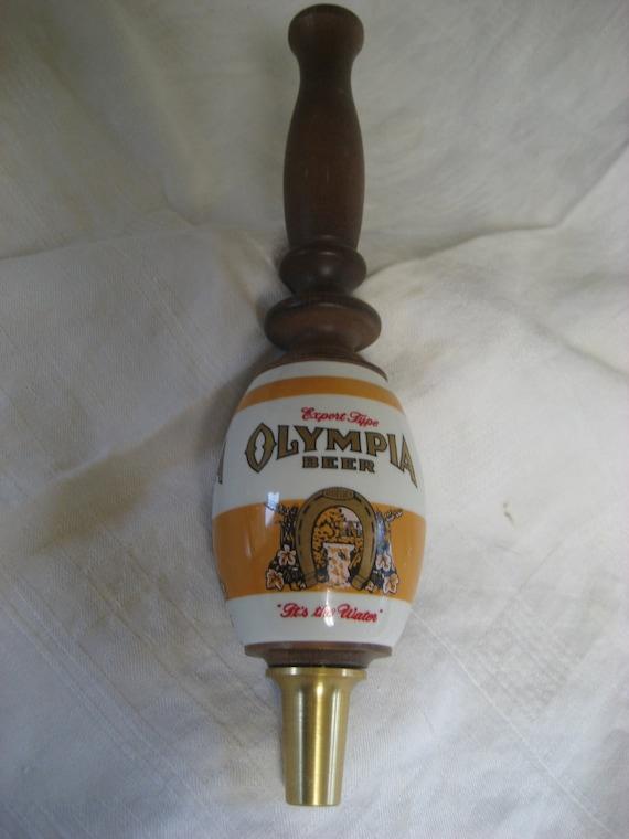 Vintage Olympia Beer Tap Handle Wood And Ceramic
