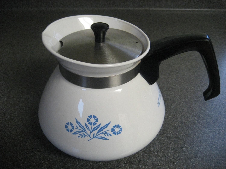 Corning Ware Cornflower Blue 6 Cup Teapot Tea Pot Vintage