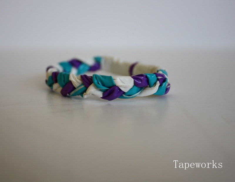Kids Duct Tape Braided Bracelet Purple White Teal By Tapeworks