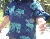 Elephant Batik Button Down Shirt, Sizes 2 Made in Ghana