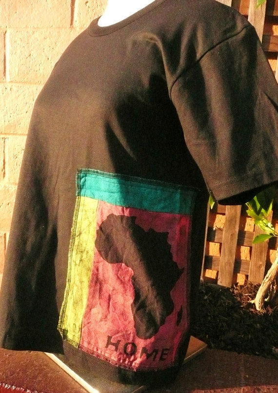 Africa HOME Batik Organic T-shirt, with FREE Sticker