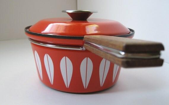 Cathrineholm Orange Lotus Pot with Lid, Vintage Enamelware