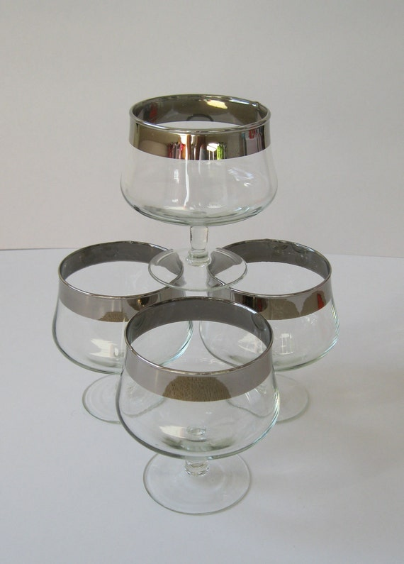 RESERVED - Silver Rimmed Dessert Dishes, Mid Century Modern Mad Men Style