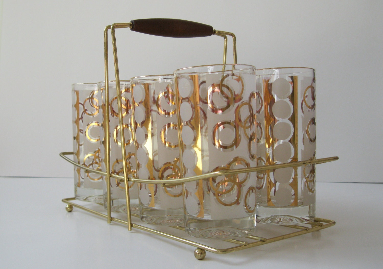 mid century barware vintage gold cocktail glasses and caddy