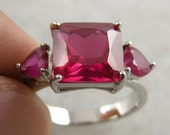 3.59 CARAT LAB RUBY TrIpLe  StOnEd Fancy Ring White Gold Bonded Size 8 Lady's Ring