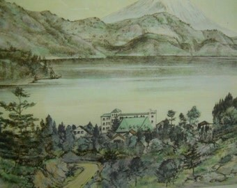 Mid Century Original Framed Hand Colored Japan ETCHING Signed by WILLY SEILER Lake Hakone in Japan with Mount Fuji in the Far Beyond
