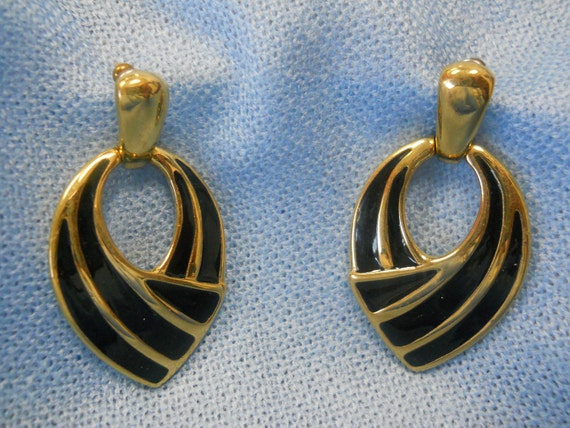 A Pair of Sophisticated Givenchy Style Golden and Ebony Black Classic Euro 1980's Earrings...OohLaLa... from L.A. Estate