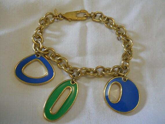 RARE BiG THREE O O O MoDeRnO Golden Heavy Metal MONET Charming Charm Bracelet