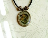 Floss Flower Real Pressed Flower Necklace Black Silk Cord Beaded