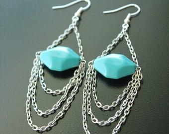 Chain Dangle Earring with Teal Bead