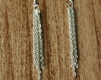 Silver Chain Icicle Earrings