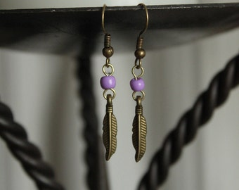 Antique Brass Tribal Feather Earring with Bead - Petite