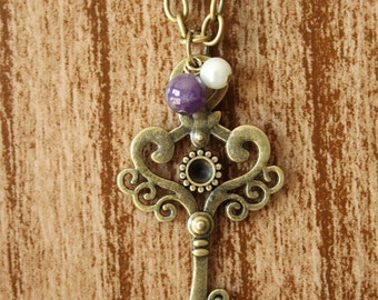 Antique Brass Skeleton Key Necklace with Amethyst Round Stone and Pearl Bead - Vintage Inspired
