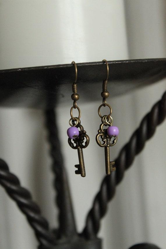 Antique Brass Skeleton Key Earring with Bead - Petite