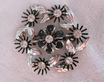 Vintage Black & Silver Flower Pin with Rhinestone Centers