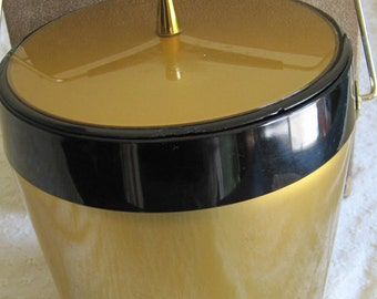 Vintage Gold & Black Mad Men Ice Bucket