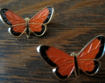 Two Vintage Reddish Orange and Black Butterfly Scatter Pins