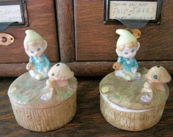 Whimsical Vintage Pixie/Elf/Gnome Homco Trinket Box