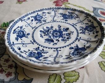 Vintage Johnson Bros. Indies Blue Ironstone Saucers (3)